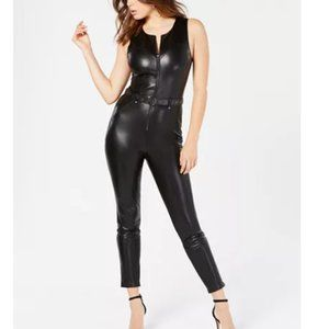 Guess Sandra Faux Leather Moto Belted Jumpsuit